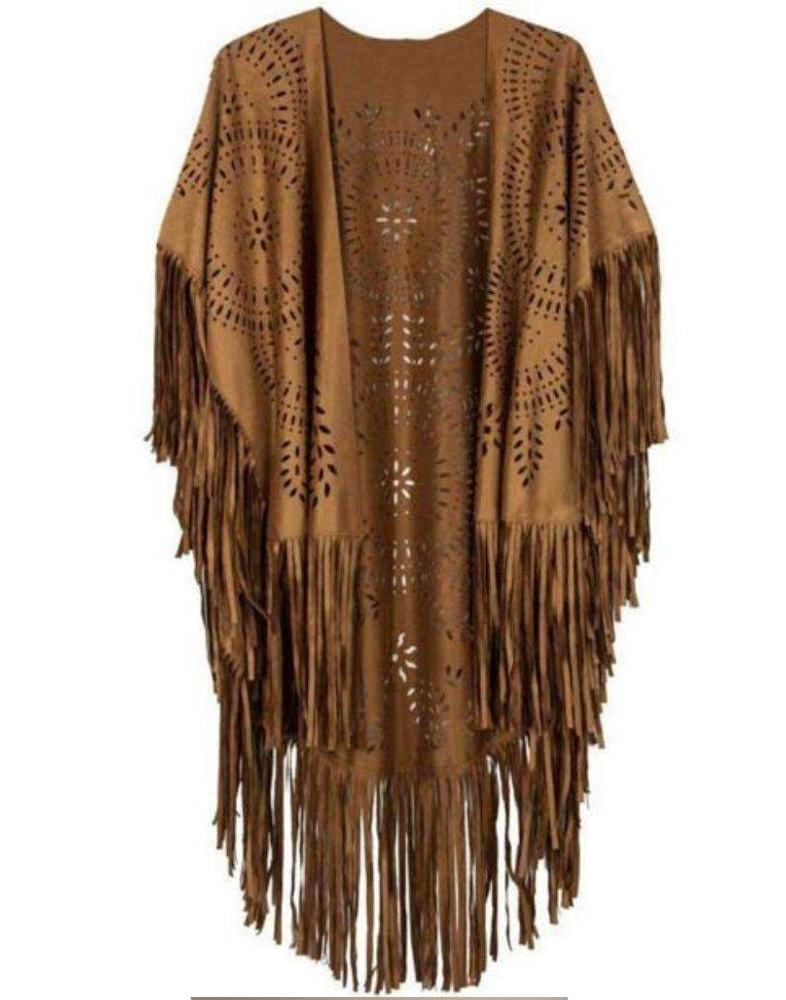 Suede Leather Poncho